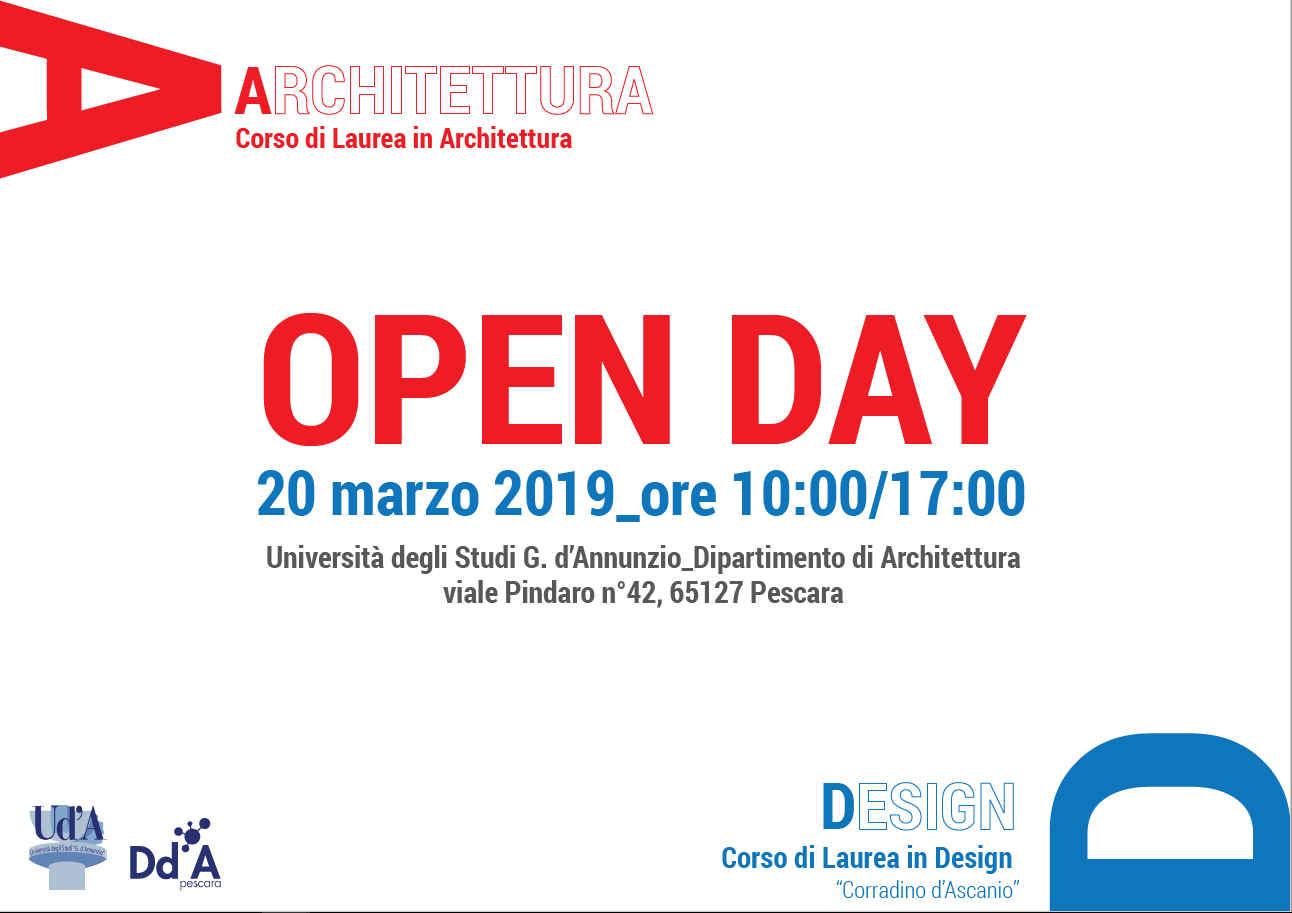 Invito per l'Open Day del Corso di Laurea in Design, Università d'Annunzio di Pescara, che si tiene il 20 marzo dalle ore 10.00 alle ore 17.00 in Viale Pindaro 42.